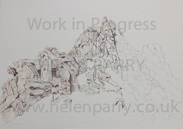 Third stage Devil's Chair watercolour