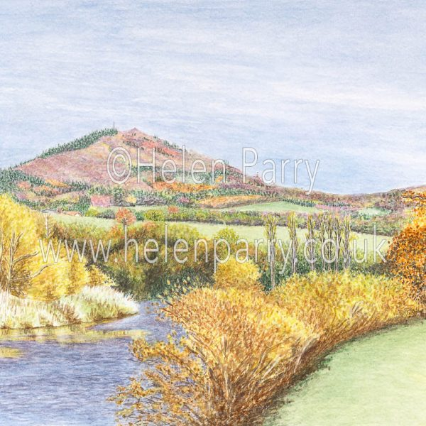 fine art print of wrekin hill in autumn colours
