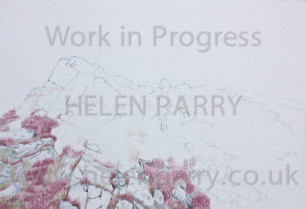 Second progress of Stiperstones watercolour painting