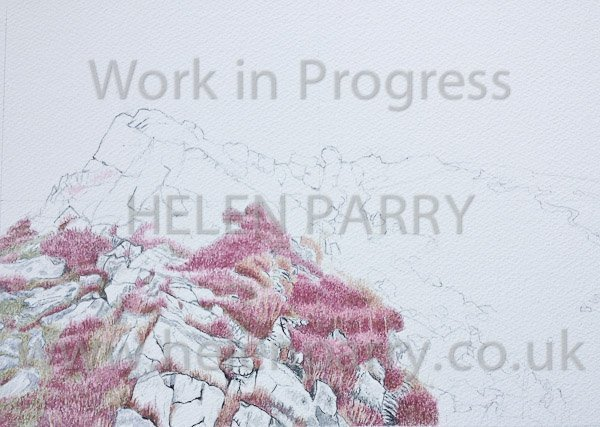 Third update of Stiperstones watercolour painting