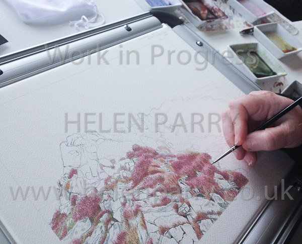 Fourth update showing artist painting Stiperstones watercolour