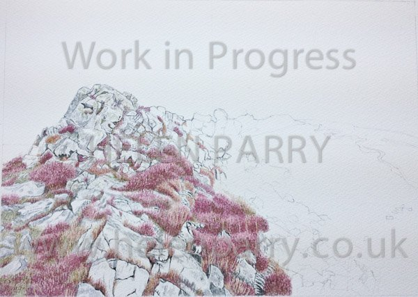 Fifth update of Stiperstones watercolour painting