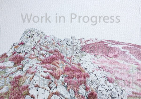 Seventh update of Stiperstones watercolour painting