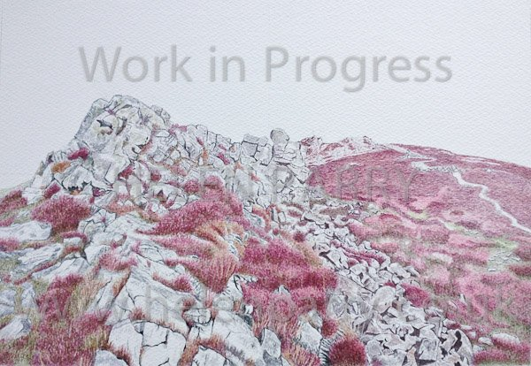 Eighth update of Stiperstones watercolour painting