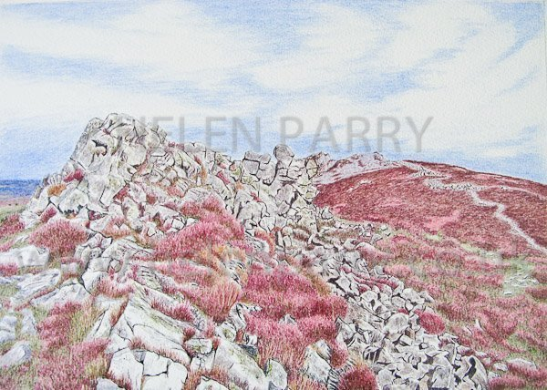 Completed Stiperstones watercolour painting