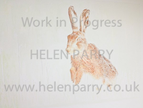 Third stage Brown Hare watercolour