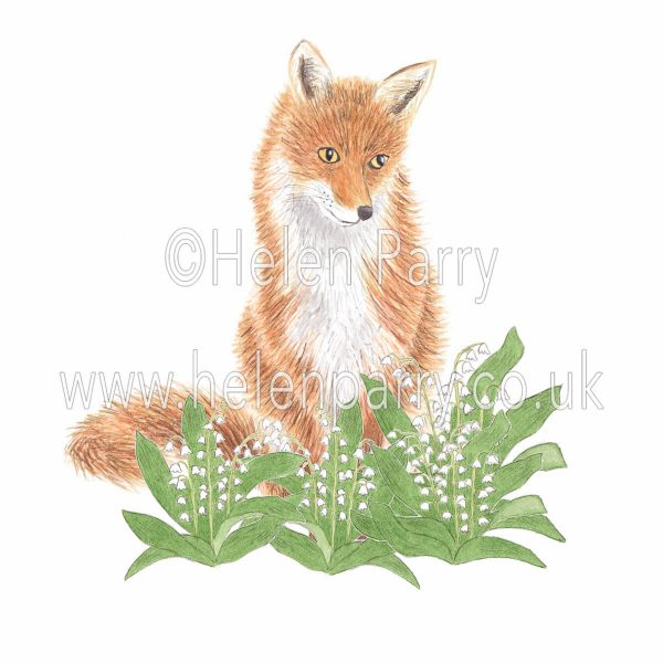 greeting card of fox surrounded by lily of the valley flowers