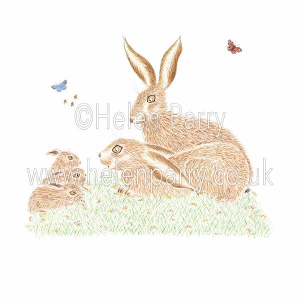 greeting card of hare couple facing three leverets
