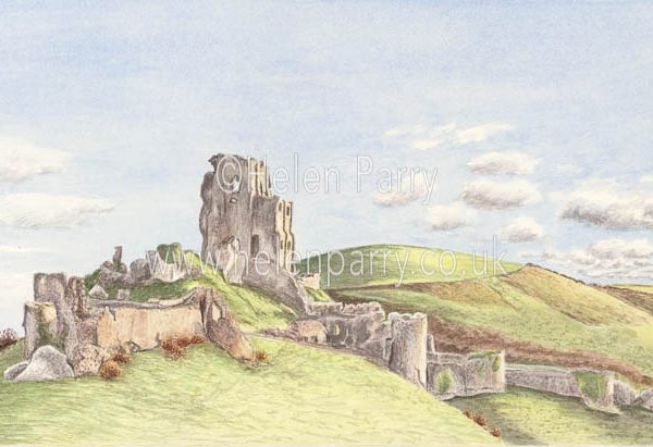 fine art print of Corfe Castle in Dorset