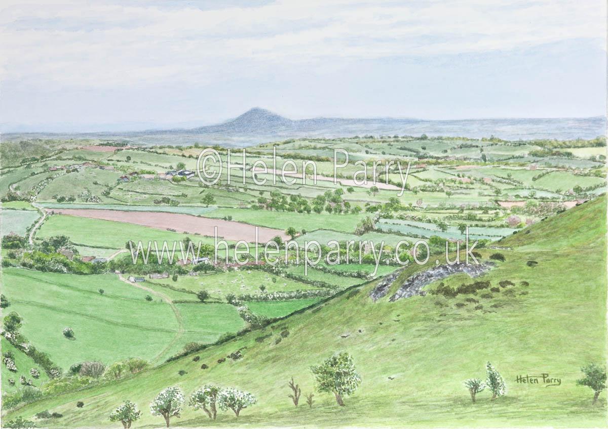fine art print of Wrekin views from Hope Bowdler Shropshire