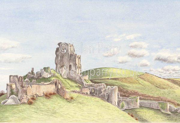 watercolour painting of Corfe Castle in autumn landscape