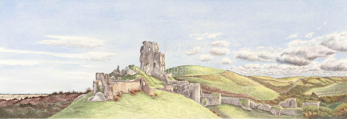 watercolour painting of Corfe Castle in autumn landscape
