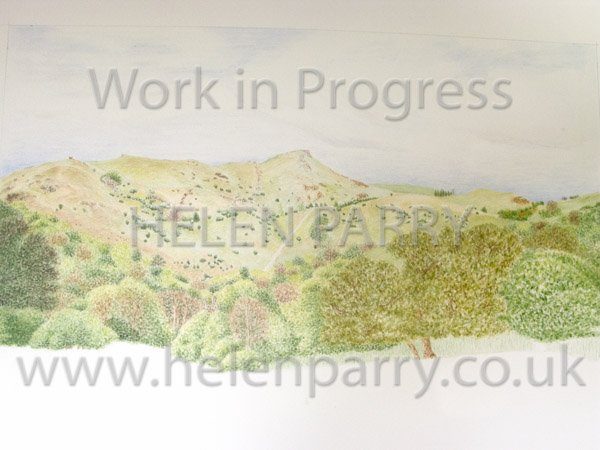 Fourth stage Caer Caradoc watercolour painting