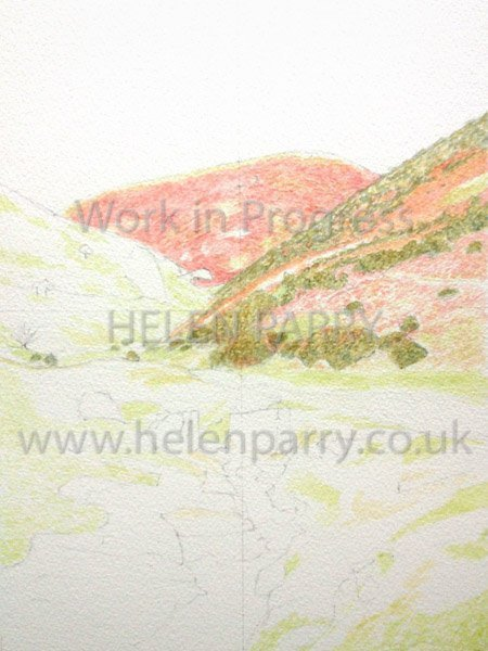 First stage Carding Mill Valley watercolour