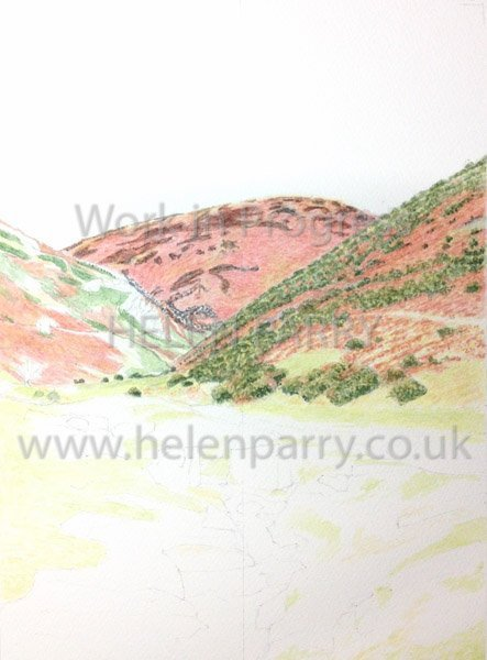 Second stage Carding Mill Valley watercolour