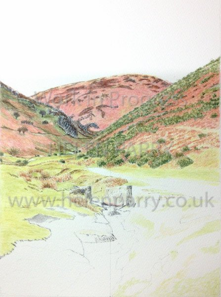 Third stage Carding Mill Valley watercolour