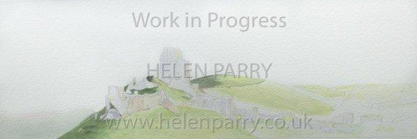 Second stage Corfe Castle watercolour