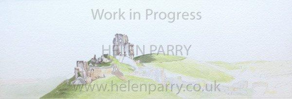 Third stage Corfe Castle watercolour