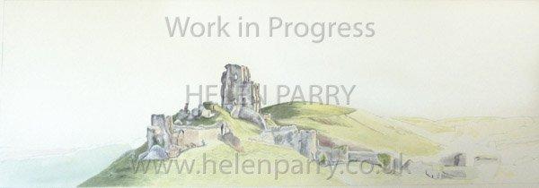 Fourth stage Corfe Castle watercolour