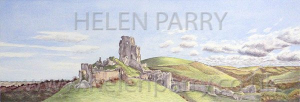 Corfe Castle watercolour painting by Helen Parry