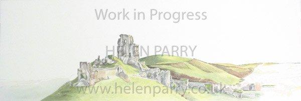 Fifth stage Corfe Castle watercolour