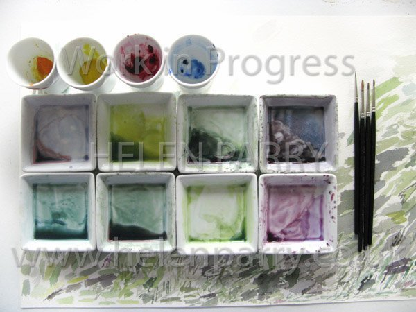 Foxglove watercolour painting palette mixes