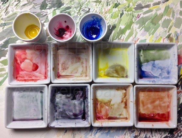 Palette mixes for Goldfinch watercolour