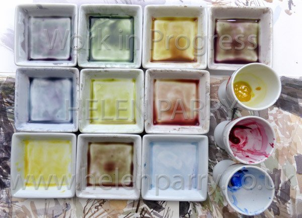 Palette mixes for watercolour using 3 colours
