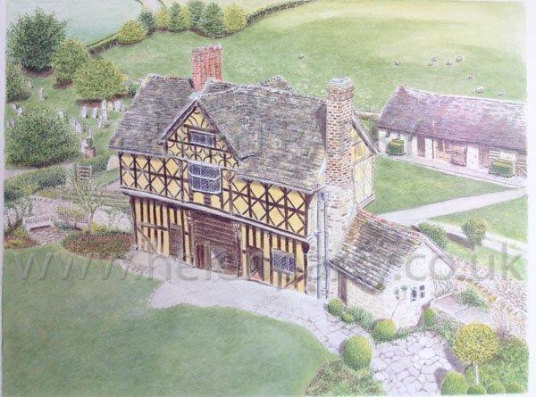 Stokesay Castle Gatehouse watercolour by Helen Parry