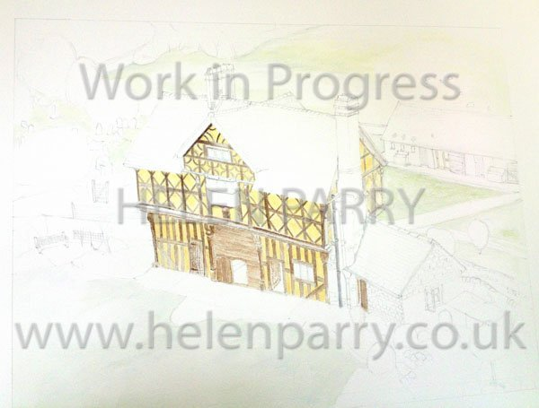 Second stage Stokesay Castle Gatehouse watercolour