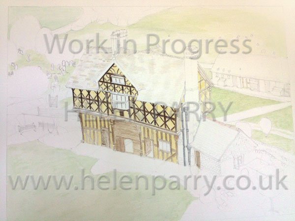 Third stage Stokesay Castle Gatehouse watercolour