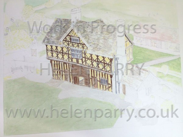 Fourth stage Stokesay Castle Gatehouse watercolour