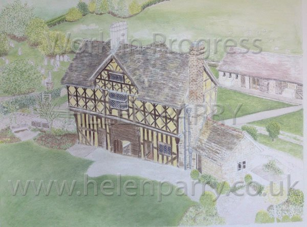 Fifth stage Stokesay Castle Gatehouse watercolour