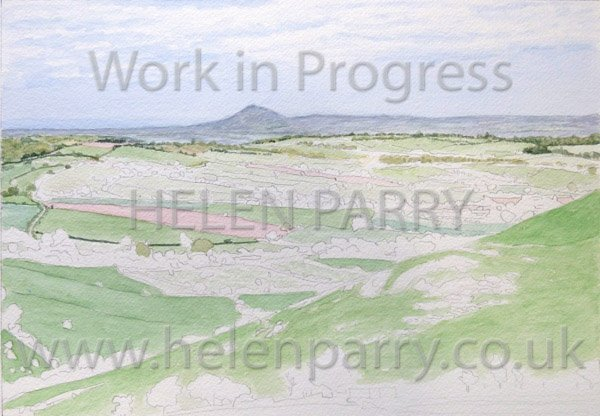 Second stage Wrekin from Hope Bowdler watercolour