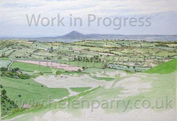 Third stage Wrekin from Hope Bowdler watercolour