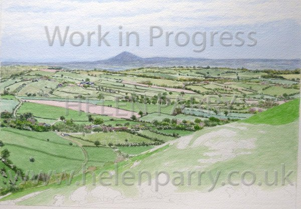 Fourth stage Wrekin from Hope Bowdler watercolour