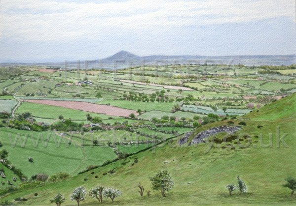 Wrekin from Hope Bowdler watercolour by Helen Parry