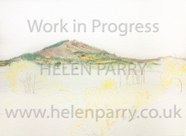 First stage Wrekin in Autumn watercolour