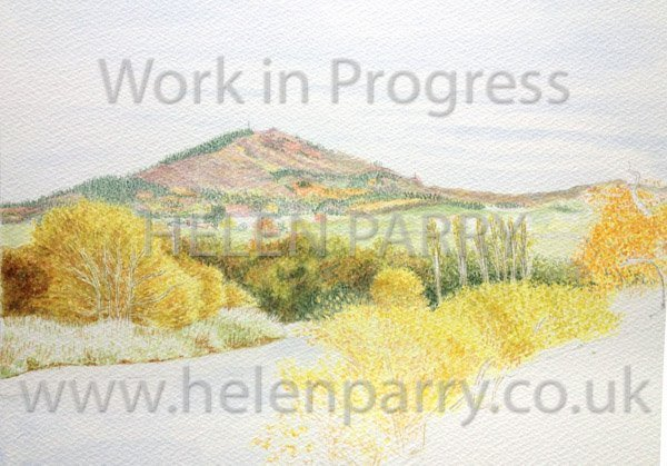 Third stage Wrekin in Autumn watercolour