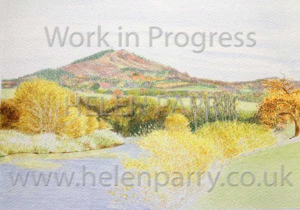 Fourth stage Wrekin in Autumn watercolour