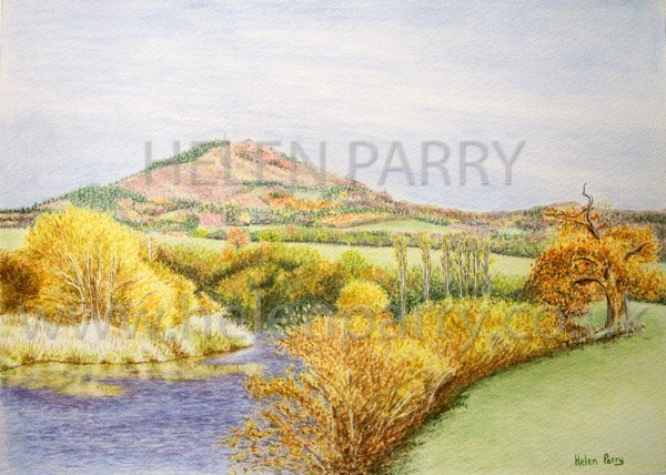 Wrekin in Autumn watercolour painting by Helen Parry