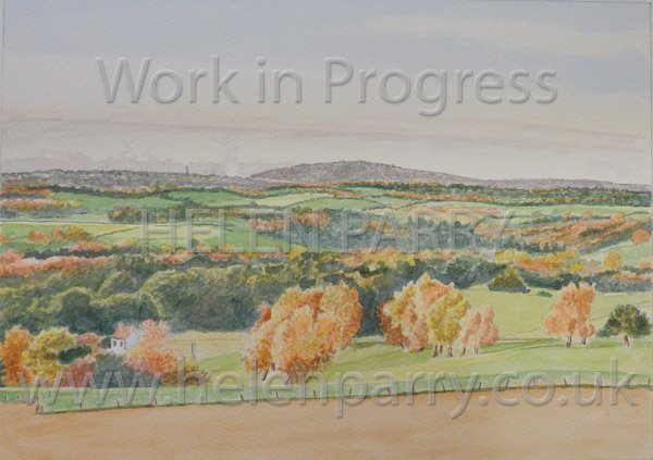 Fourth stage Wrekin in Evening Sunlight watercolour