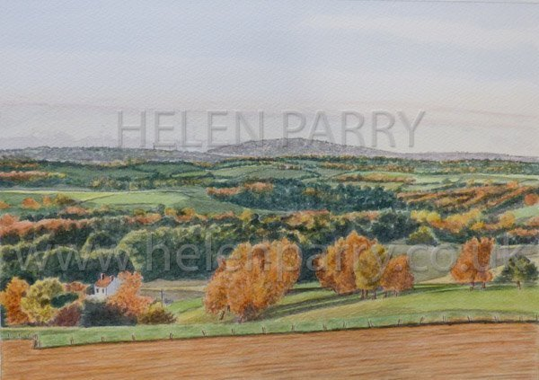 Wrekin in Evening Sunlight watercolour painting by Helen Parry