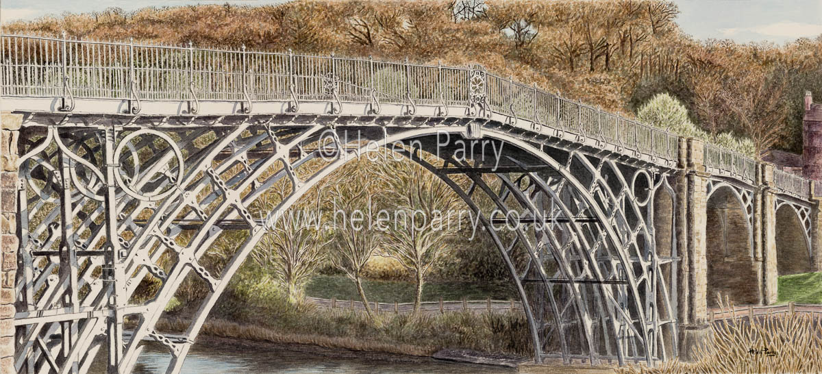 watercolour painting of the Iron Bridge in Shropshire