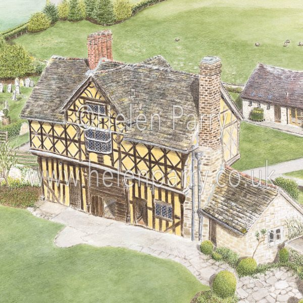 watercolour painting of stokesay castle gatehouse