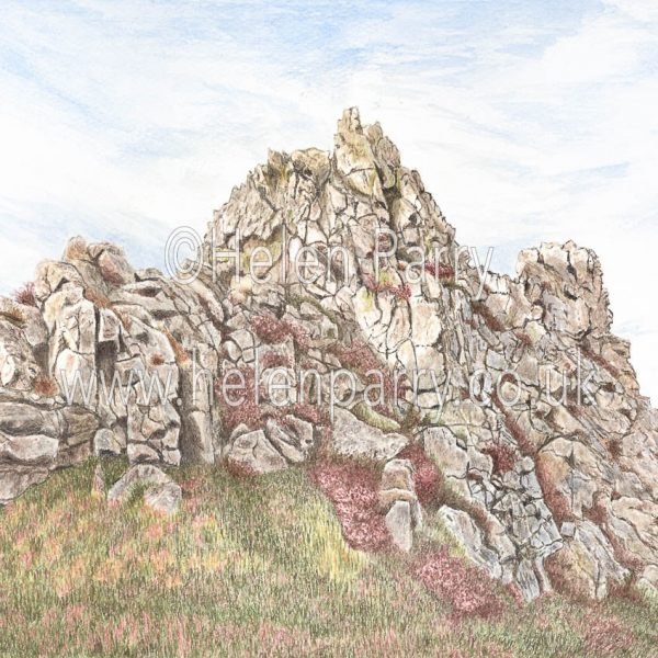 watercolour painting of the devils chair stiperstones shropshire