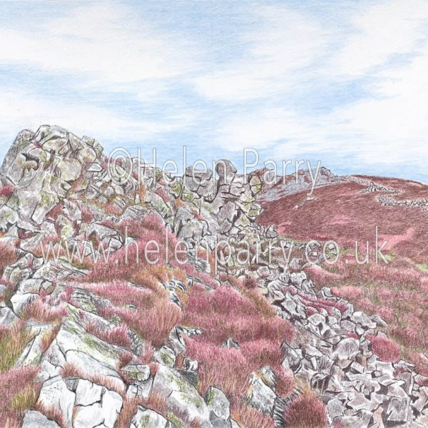 watercolour painting of the Stiperstones ridge Shropshire