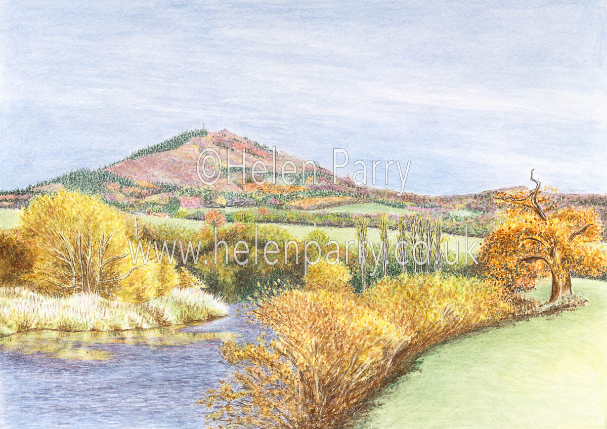 watercolour painting of the wrekin hill in autumn landscape