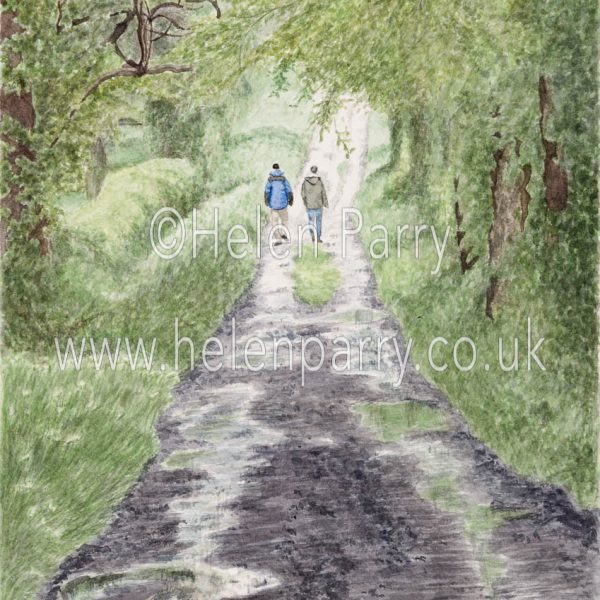 fine art print of green lane with reflective pools with two people walking towards the light