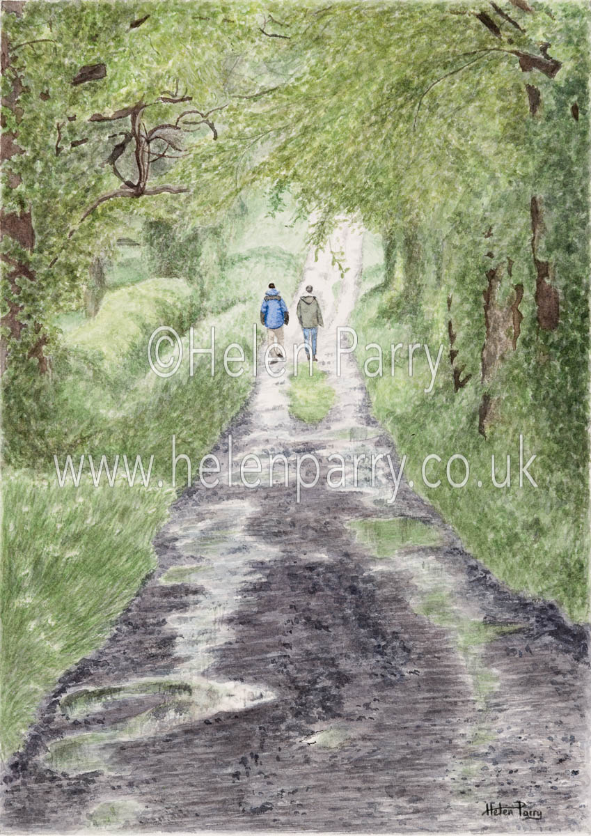 watercolour painting of two people walking towards the light in green muddy lane with reflective pools of water
